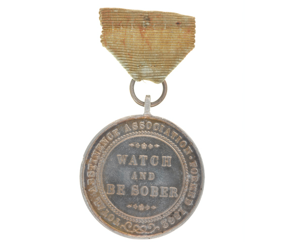 Soldiers' Total Abstinence Association medal for one year awarded to Sergeant J Phillips, 27th Battery Royal Artillery, 1893