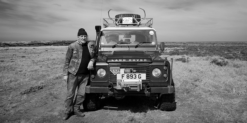 Man with Land Rover, Falkland Islands