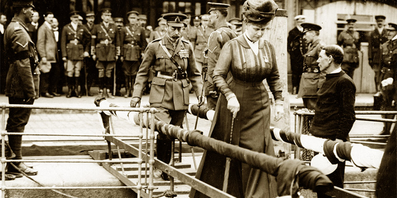 King George V and Queen Mary embark on the boat for home, c1917