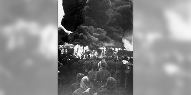 The burning of Belsen Concentration Camp, Germany, May 1945