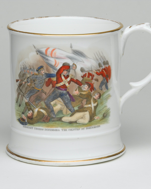 Mug depicting Sergeant Thomas defending the Colours at Inkerman, 1854