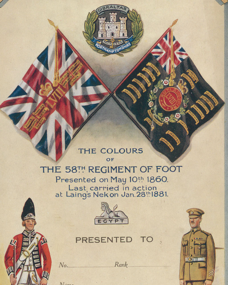 The Colours of the 58th Regiment, last carried in action at Laing's Nek, 1881