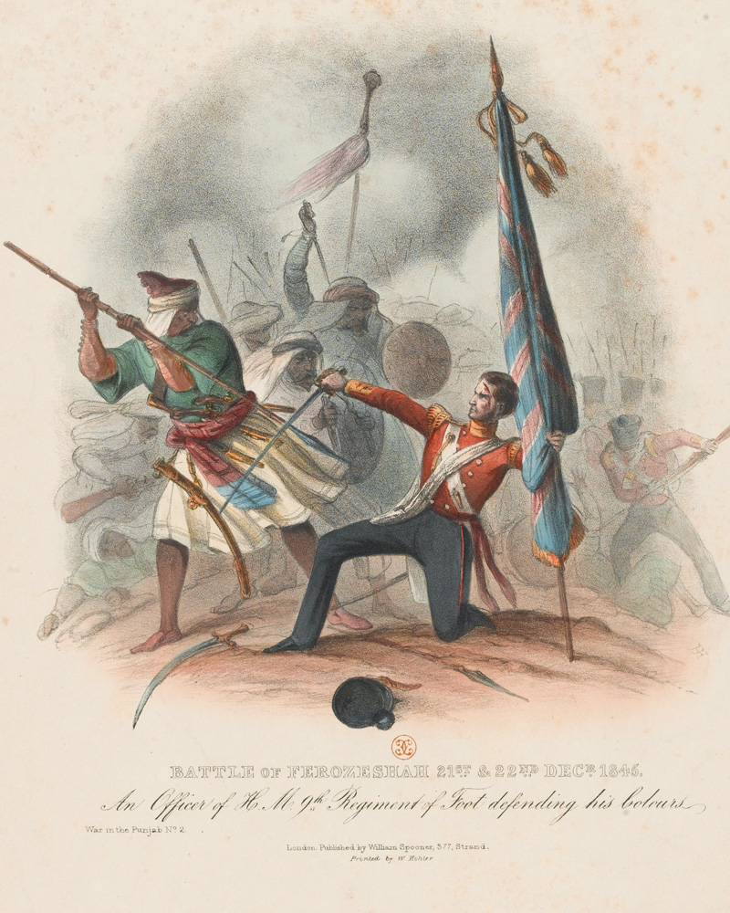 An an officer of the 9th (The East Norfolk) Regiment fighting off Sikhs attempting to seize the Queen's Colour at Ferozeshah, 1845