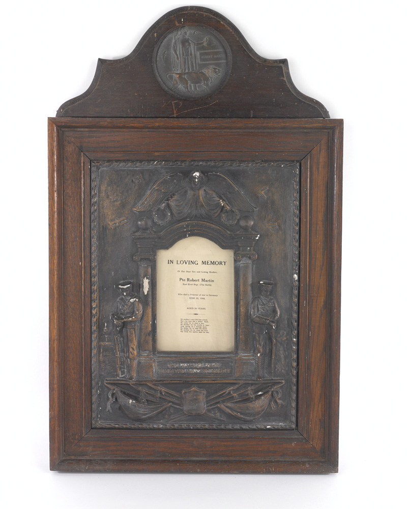 Memorial plaque to Private Robin Martin, The Buffs (East Kent Regiment), 1918