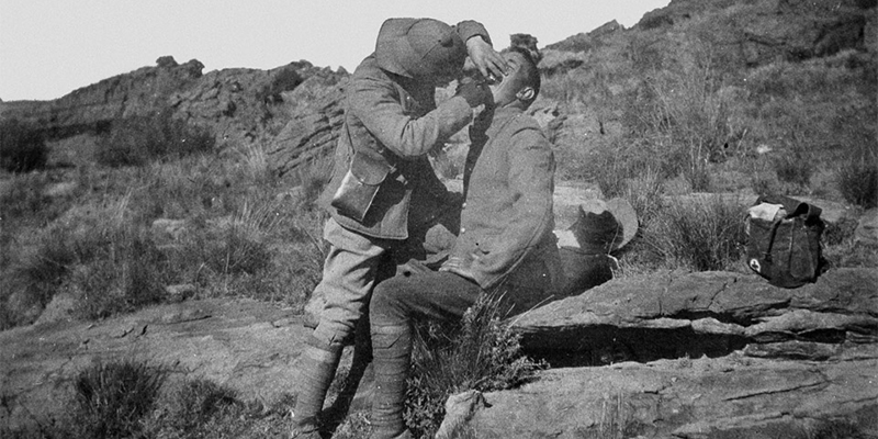 A dentist at work during the Boer War, c1901