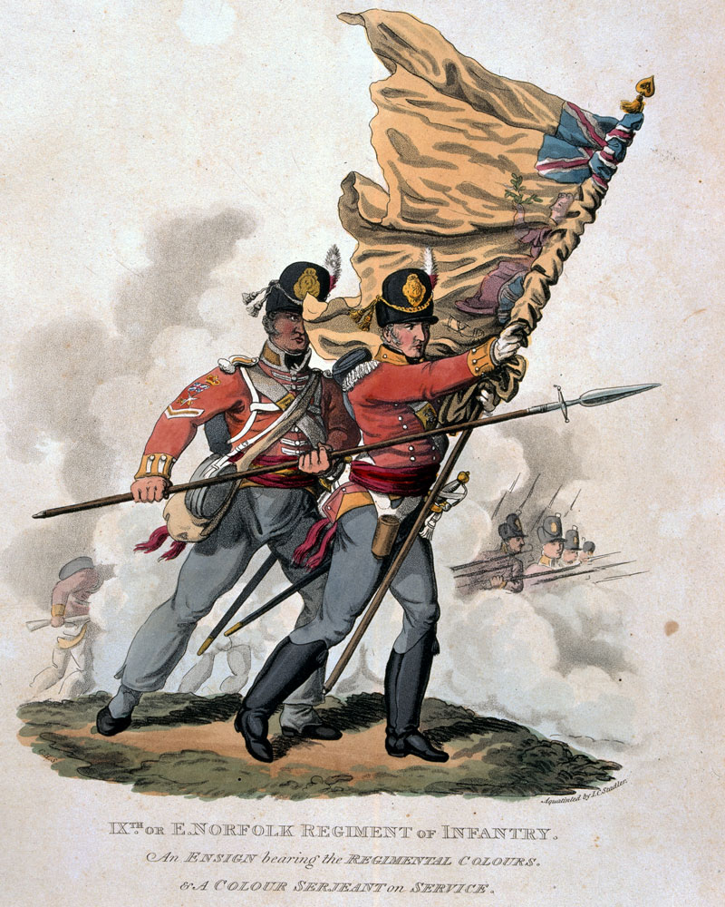 An ensign and colour sergeant of the 9th (East Norfolk) Regiment, 1812