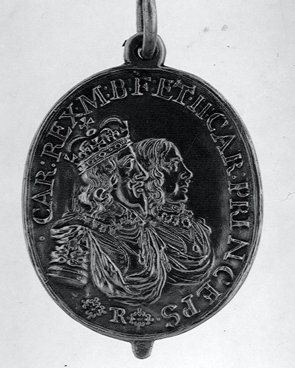 Replica of a medal awarded to Sir Robert Welch for recovering the King's standard at the Battle of Edgehill, 1642