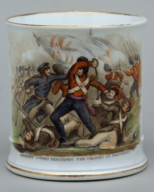 Mug commemorating Sergeant Davies defending the Colours at Inkermann, 1854