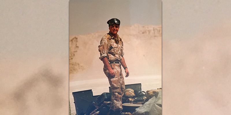 Captain (later Lieutenant Colonel) Tim Purbrick in the desert during the Gulf War, 1991