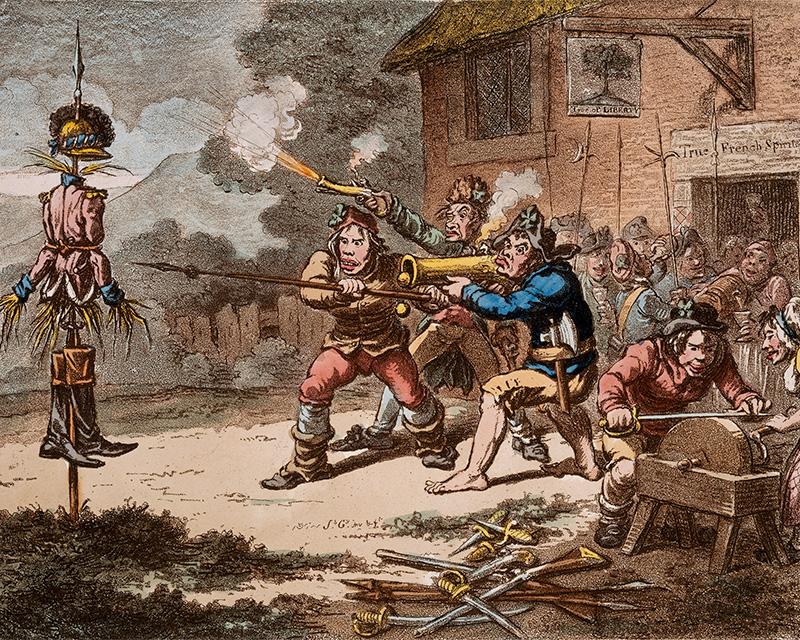 Caricature entitled'United Irishmen in training', 1798