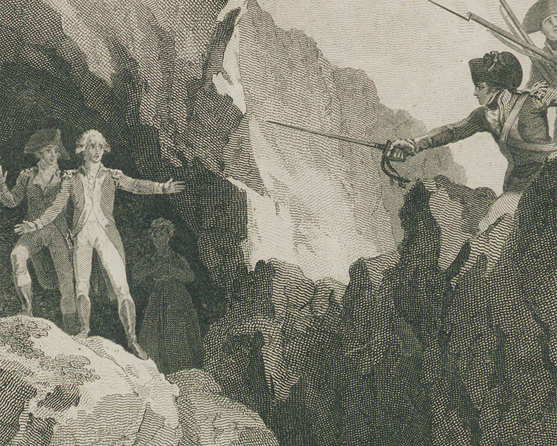 Apprehending the rebel leadersJohn Henry Colclough and Bagenal Harvey after the Battle of New Ross