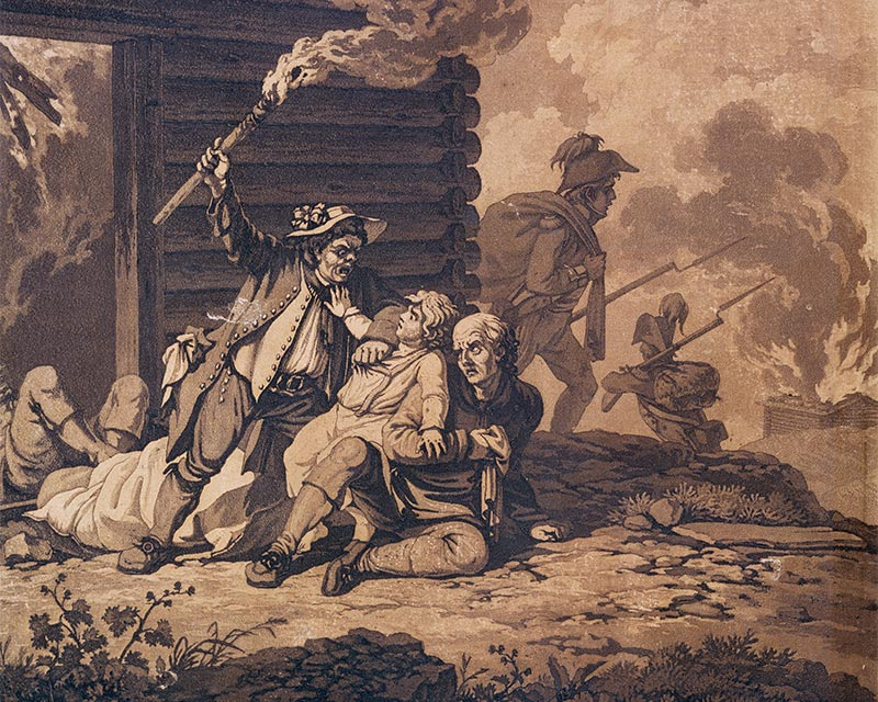 Soldiers looting a farmhouse, Ireland 1798
