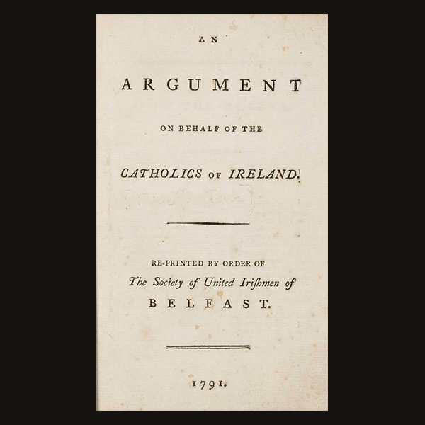 Title page of 'An Argument on behalf of the Catholics of Ireland', 1791