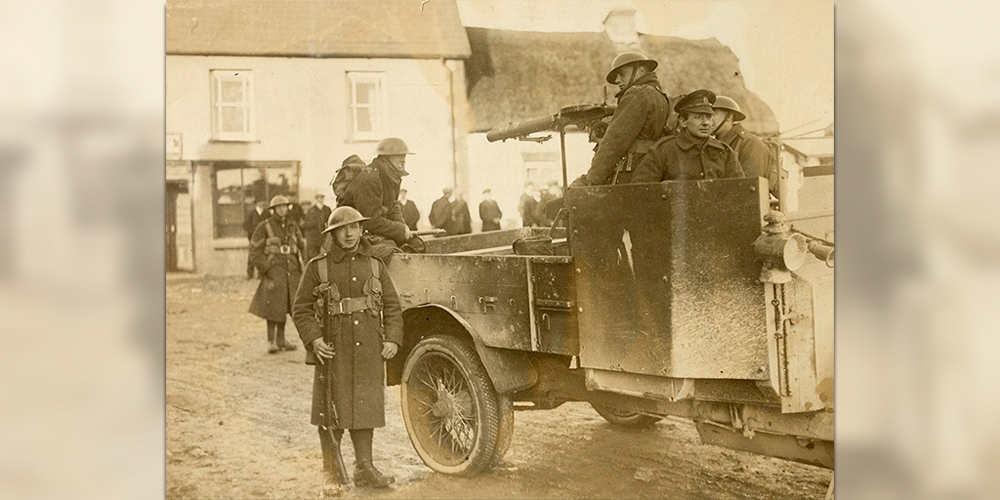 British soldiers carry out official reprisal in a village in West Cork, January 1921