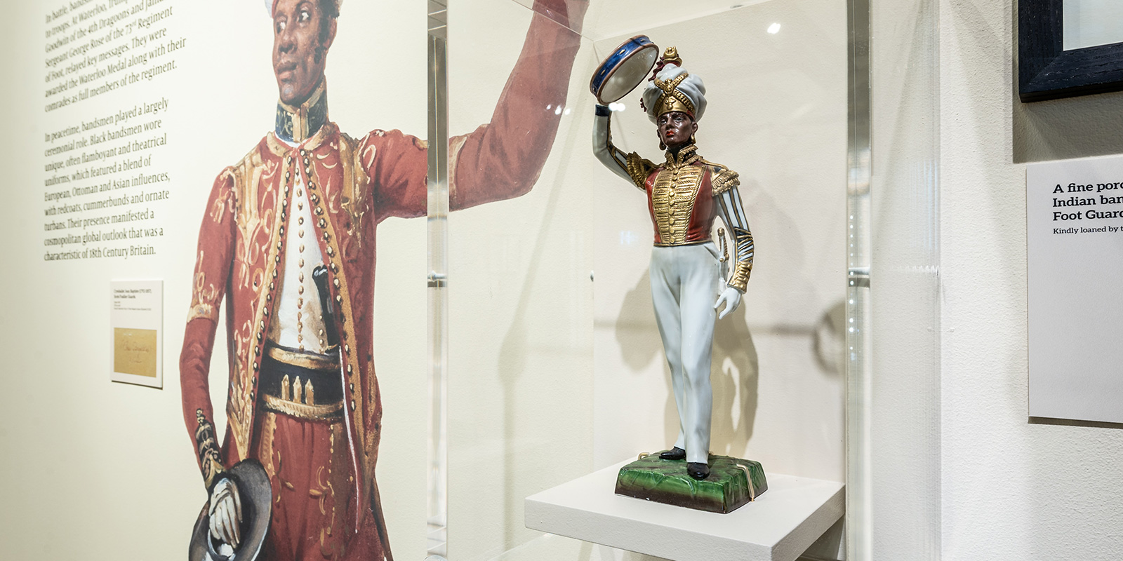 Porcelain statuette of a West Indian bandsman in the Grenadiers, mid- to late-18th century
