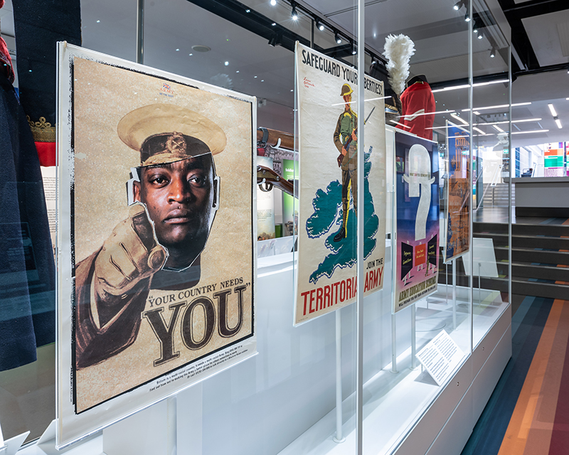 Recruiting posters on display in Formation gallery