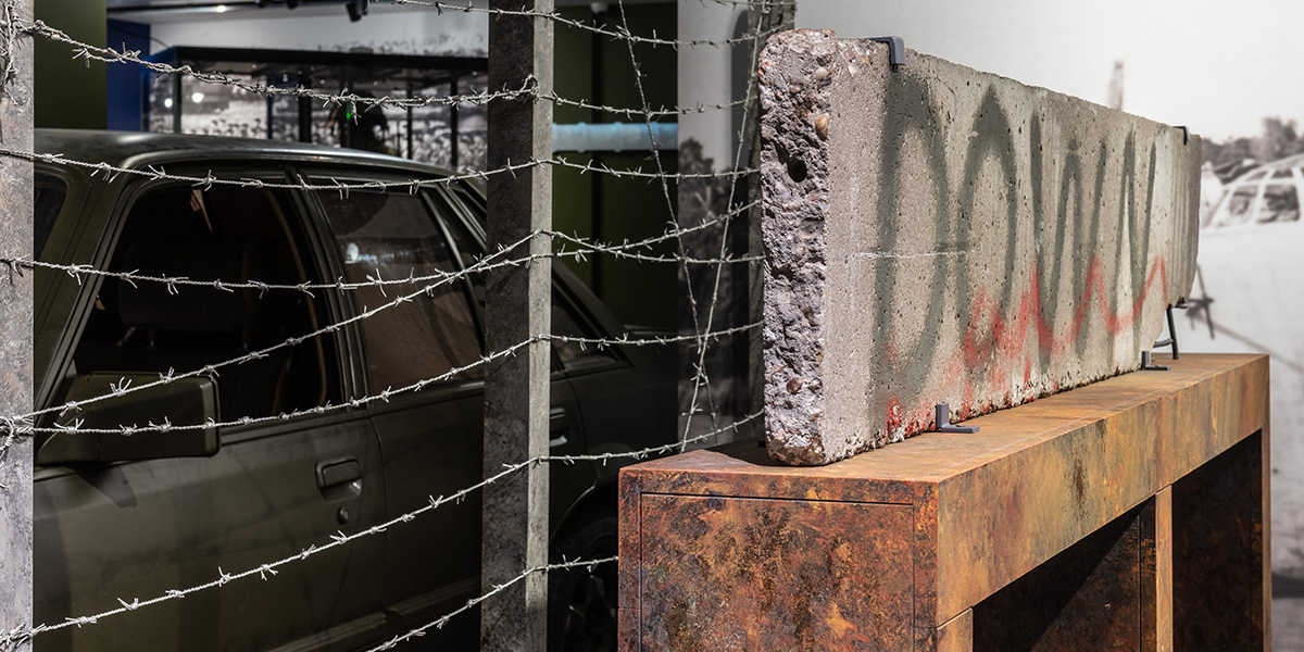 Fragment of the Berlin Wall on display in the Foe to Friend exhibition