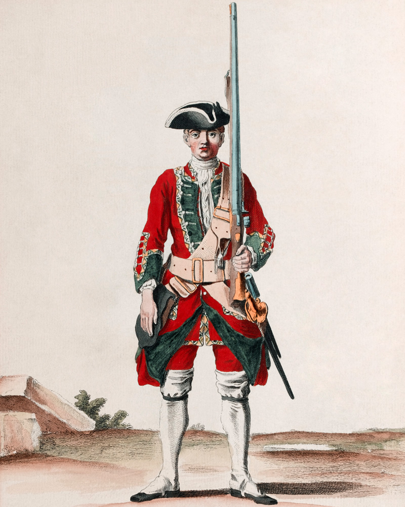 A soldier of the 11th Regiment of Foot, c1742