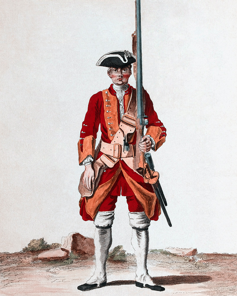 A soldier of the 15th Regiment of Foot, c1742