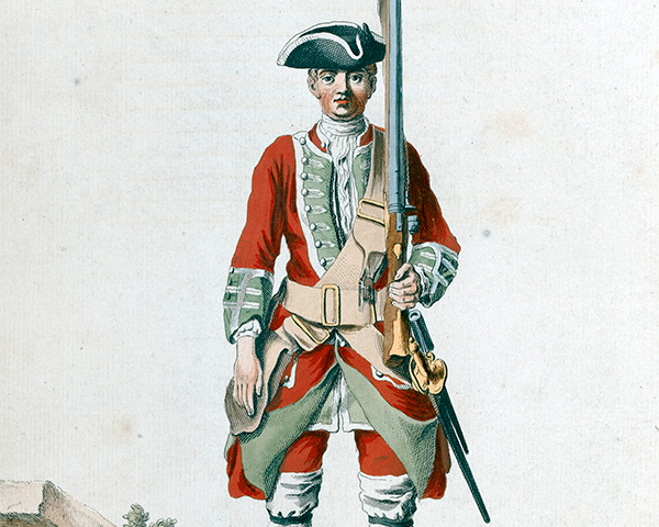 A soldier of the 39th Regiment of Foot, 1742