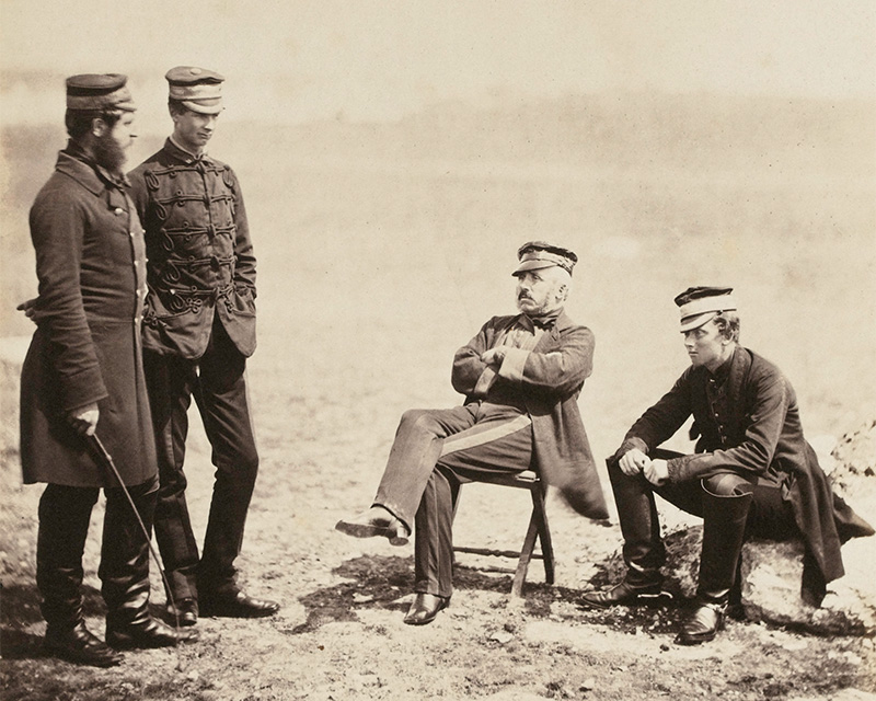 Lieutenant-General Barnard and Staff, including Captain Morgan of the 55th Foot (second from left), Crimea, 1855