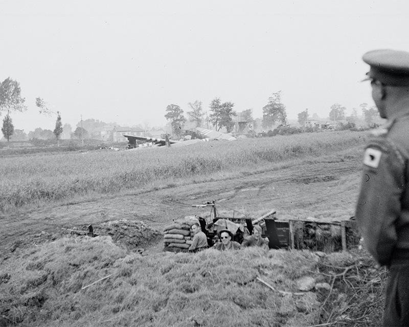 Bofors gun guarding the bridges over the Caen Canal, Normandy, 1944