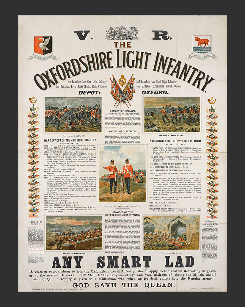 Recruiting poster, 'The Oxfordshire Light Infantry', c1890