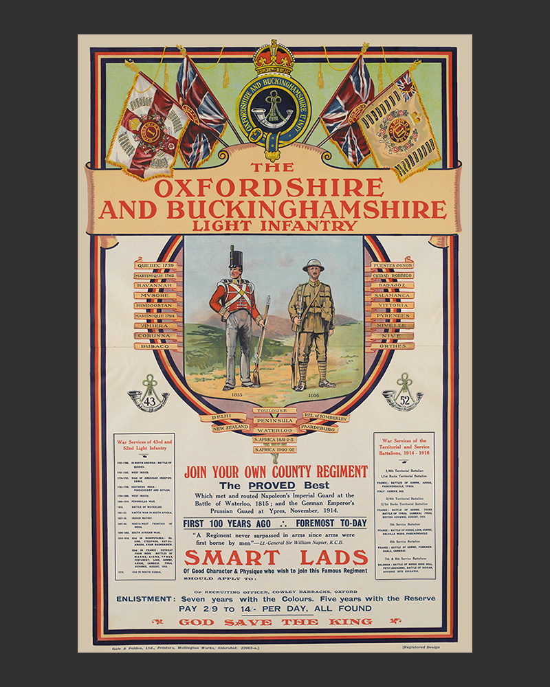 Recruiting poster, 'The Oxfordshire and Buckinghamshire Light Infantry', c1920
