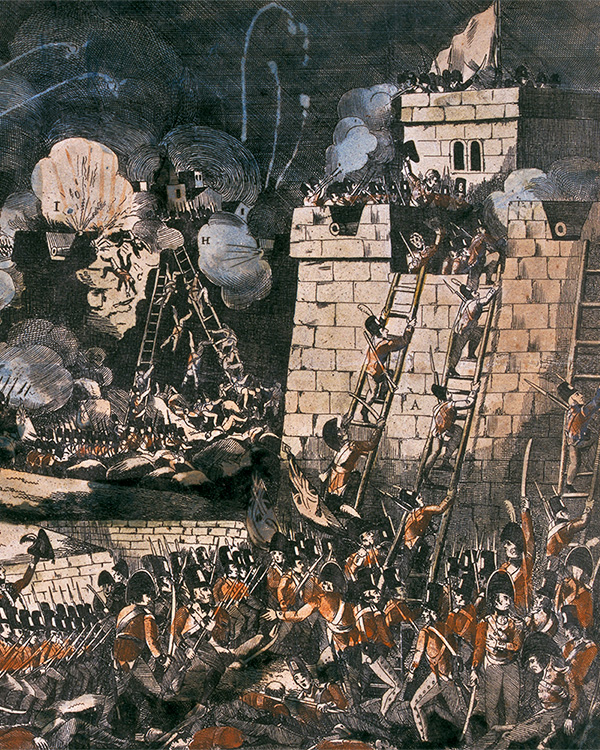 A view of the Storming of Badajoz, Spain, 6 April 1812