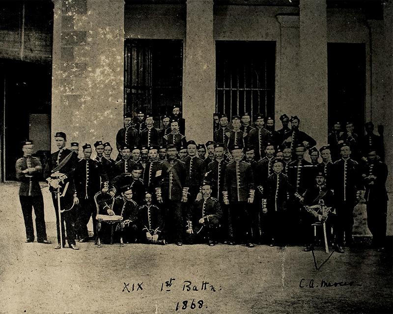 Group portrait of 1st Battalion, 19th Regiment of Foot, India, 1868