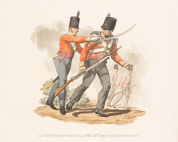 An officer and private of the 52nd (Oxfordshire) Regiment of Foot (Light Infantry), 1812