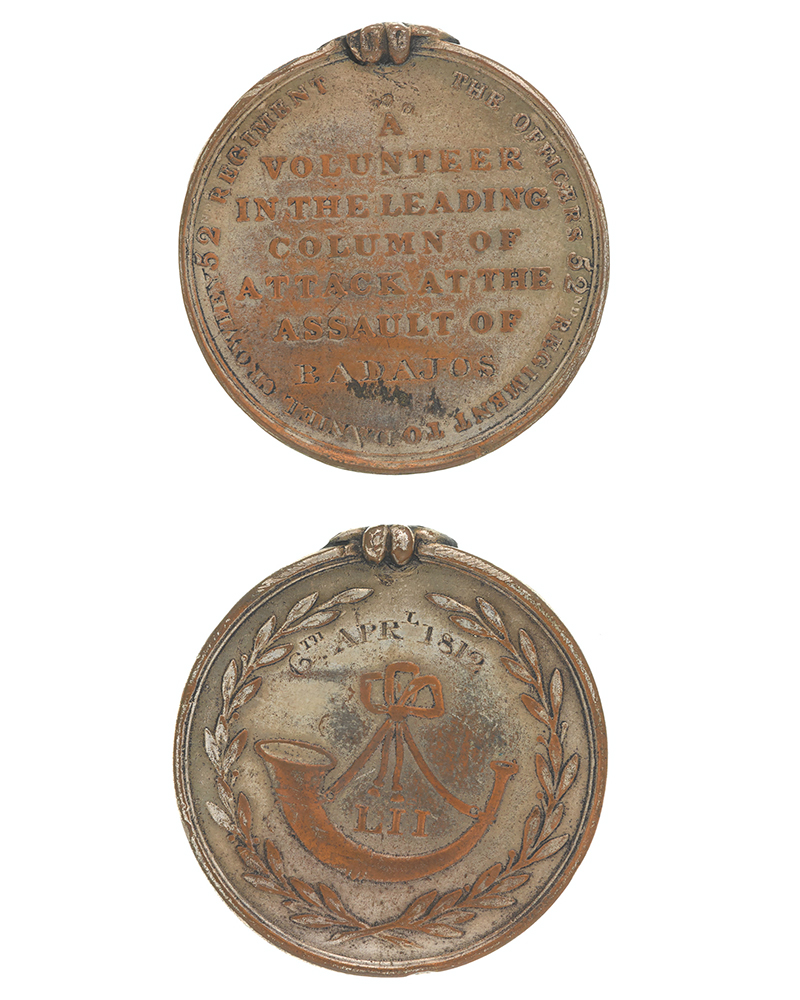 Forlorn hope medal for Badajoz issued by the 52nd (Oxfordshire) Regiment, 1812