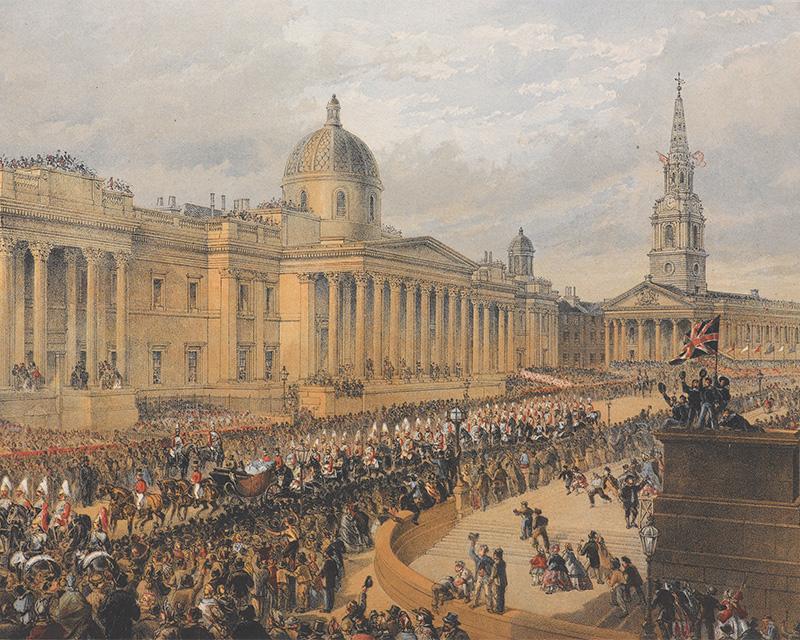 Princess Alexandra's arrivalprocession, Trafalgar Square, 7 March 1863