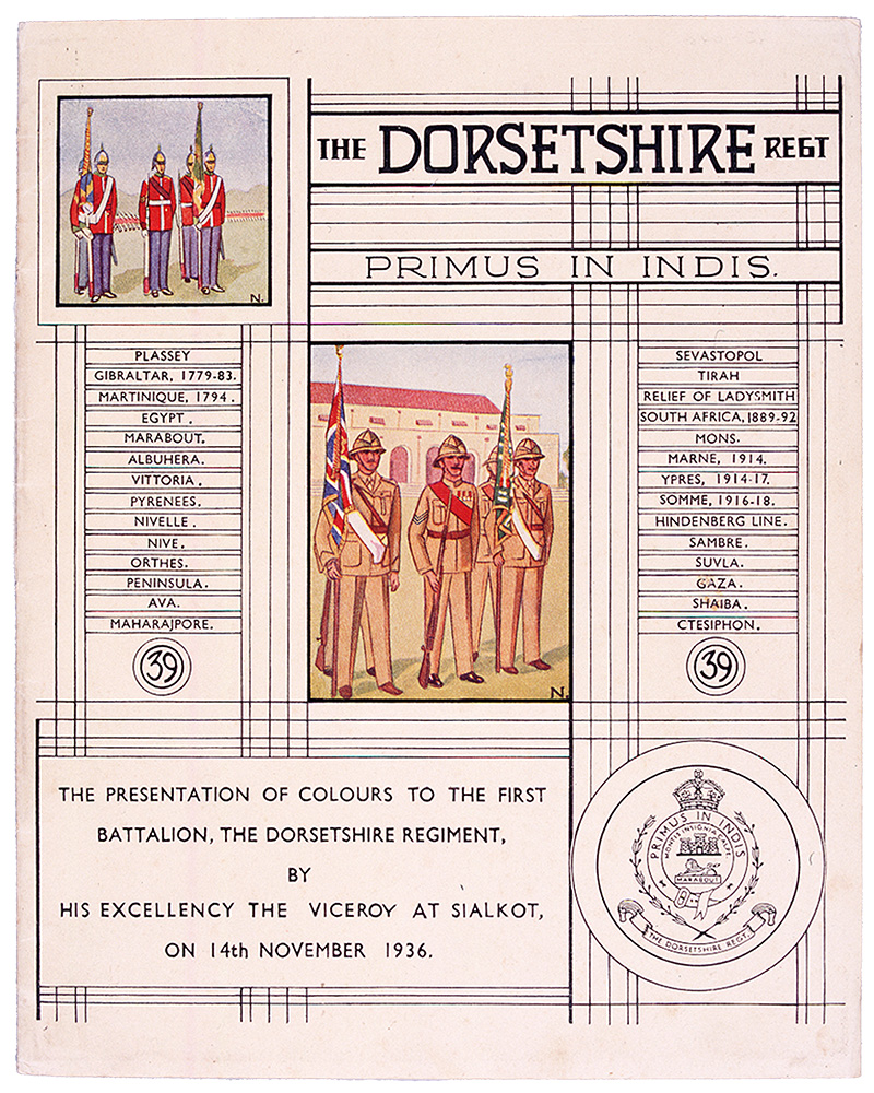 Programme forthe presentation of Colours to 1stBattalion, The Dorsetshire Regimentby the Viceroy of India, 1936