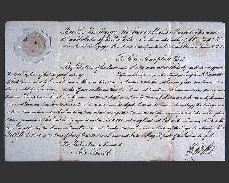 Letter from Colin Campbell to his father about his prospective lieutenancy in the 55th Regiment of Foot, 8 October 1772