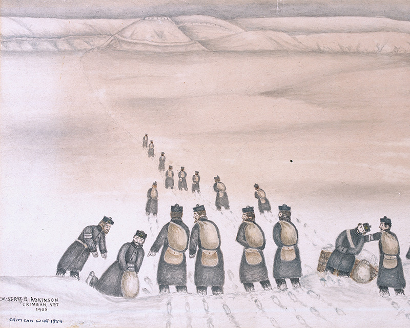 A veteran's depiction of a party of the 19th Foot in the Crimean snow, 1854