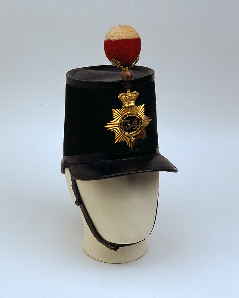 Officer's shako,34th (Cumberland) Regiment of Foot, c1855