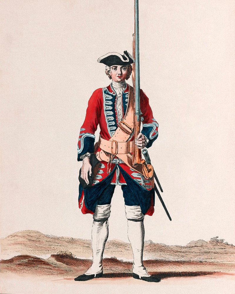 Soldier of the 8th Regiment of Foot, c1742