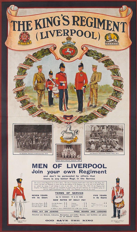 'The King's Regiment (Liverpool), Men of Liverpool Join Your Own Regiment', c1921