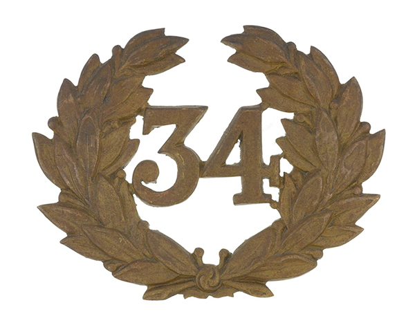 Other ranks' cap badge, 34th (Cumberland) Regiment of Foot, c1876