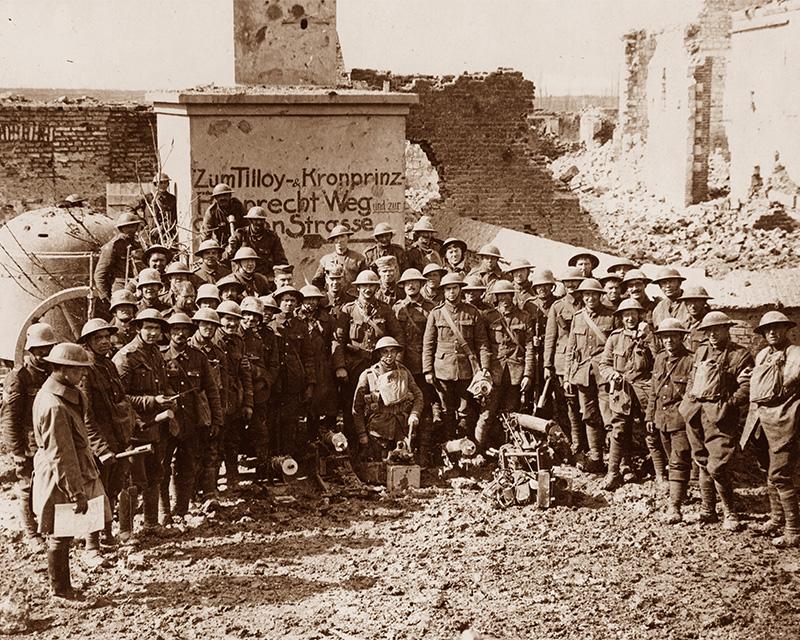 Men of The King's Regiment (Liverpool) after the capture of Tilloy, 10 April 1917