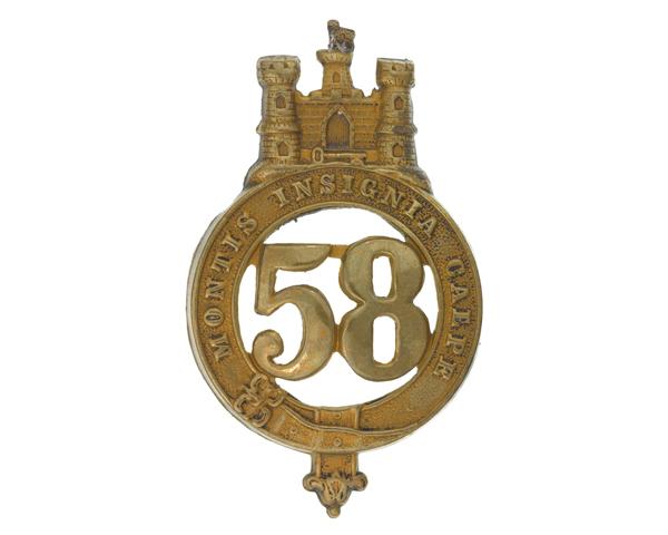 Glengarry badge, 58th (Rutlandshire) Regiment of Foot, c1874