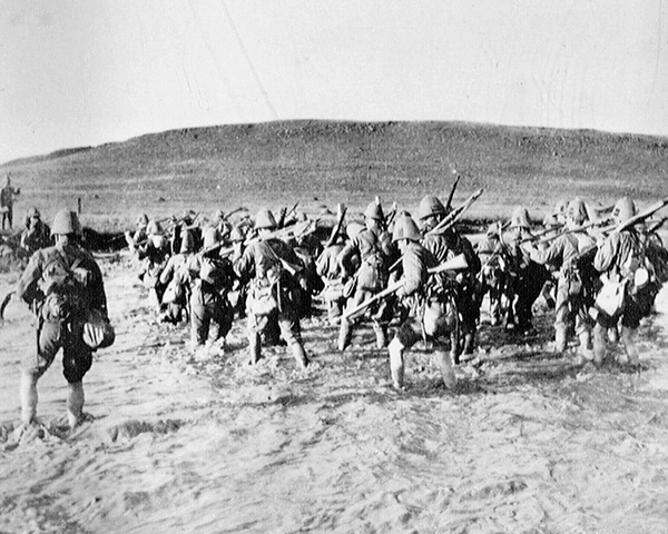 1st Battalion, The Border Regiment, crossing a drift, 1900