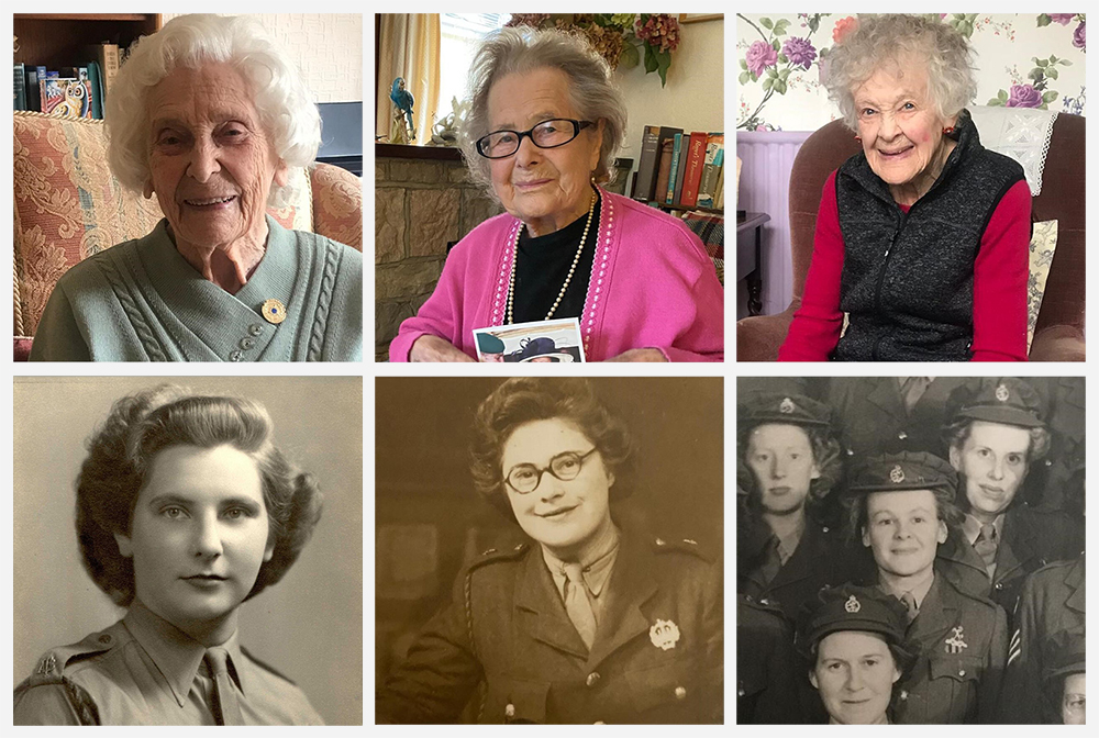Photographs of Betty Webb, Daphne Atteridge and Diana Lidstone, now and during the Second World War