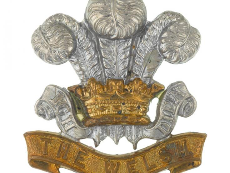 Other ranks' cap badge, worn by Sergeant R Williams, The Welsh Regiment, c1900