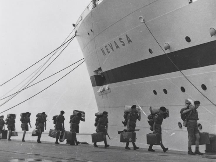 Boarding the troopship 'Nevasa' on route to Malaya, 1957