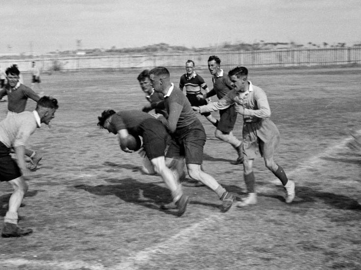 Rugby match featuring members of the 3rd County of London Yeomanry, 1942