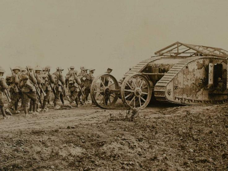 Mark I tank C19 in Chimpanzee Valley during the Battle of Flers Courcelette, 1916