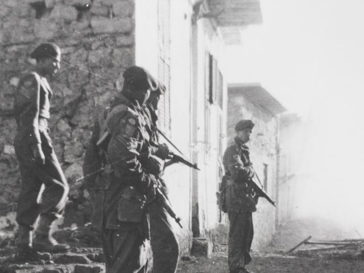 3rd Battalion The Parachute Regiment searching for snipers in Gaynaeim village, 1951