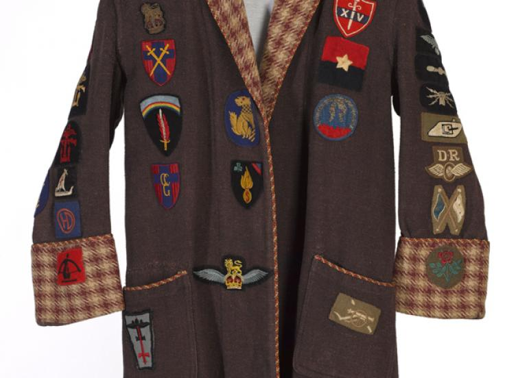 Antony Mallaby's dressing gown with formation badges sewn on it, c1943